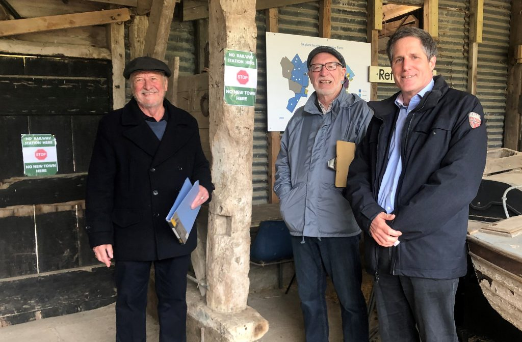 Anthony Browne MP with Parish Council representatives from Elsworth and Knapwell at RSPB Hope Farm