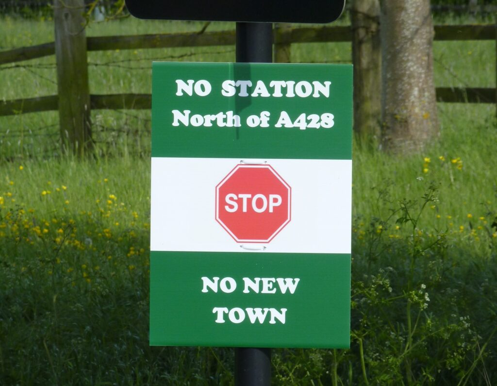 No Station North of A428 No New Town poster